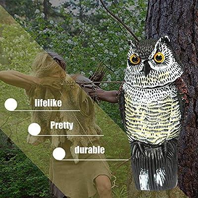 Gugutogo Búho Realista señuelo con Cabeza giratoria Protección de jardín Repelente de Aves Pest Scarer Espantapájaros Caza señuelos para Cazador: Amazon.es: Deportes y aire libre