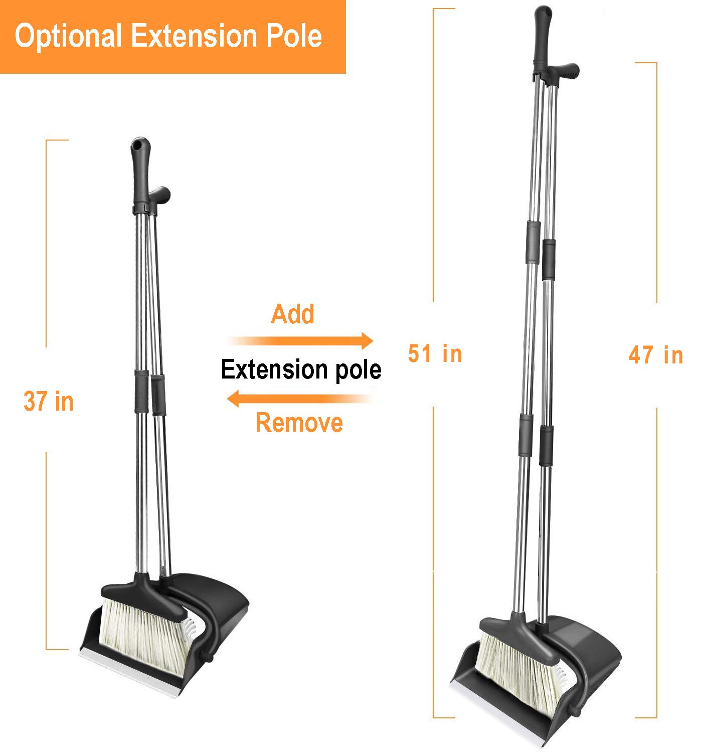 HomTrip Broom and Dustpan Set, Upright Dust Pan and Broom with 51'' Extendable Long Handle for Home Kitchen Room Lobby Office Floor Clean by HomTrip (Image #3)