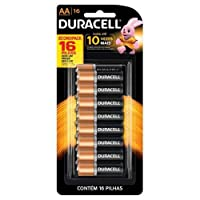 Pilha Alcalina Pequena AA Com 16 Unidades - Duracell