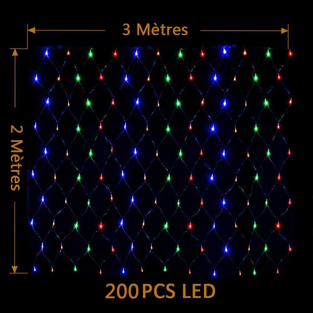 【2M × 3M 200LED 8 Modos de Flash】 Red Malla Cortina de Luz con Buen Brillo y Bajo Consumo de Energía Iluminación de la decoración para Ventanas Bares ...