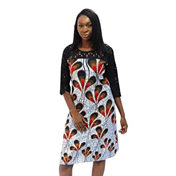 a293f9e273d Janly® Sundress Woman Vintage Lace Patchwork Dress Ladies Boho Printing  Midi Dresses (S