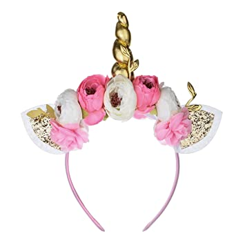 Amazon.com  Love Sweety Halloween Unicorn Headband Girls Birthday Flower  Crown Costume Headwear (Pink Golden-H)  Beauty 97f7458227a