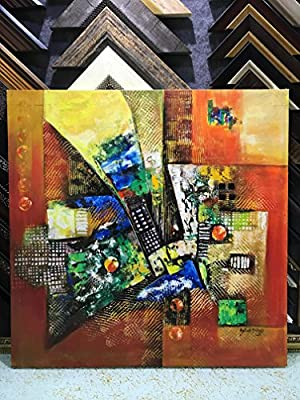 """Lussona Collections Limited Edition Handmade Abstract Oil Painting on Canvas Modern Art Artwork for Wall Decor Unframed by one of the top artist. Size:32""""W x 32""""H"""