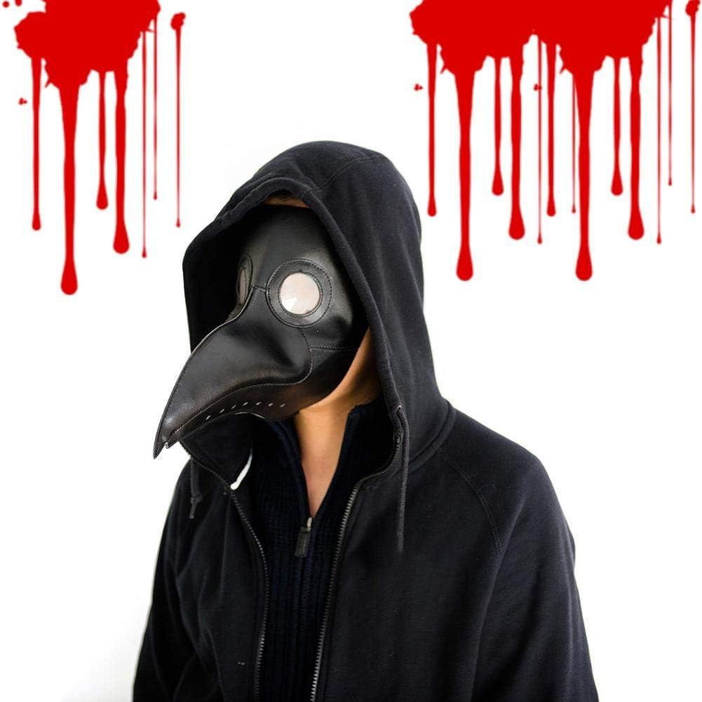 Doctor de la peste Máscara de pájaro, pico largo de nariz Cosplay Steampunk Accesorios de disfraces de Halloween Fiesta de Navidad divertida Juego de roles Juguetes Máscara de pájaro de cuero retro