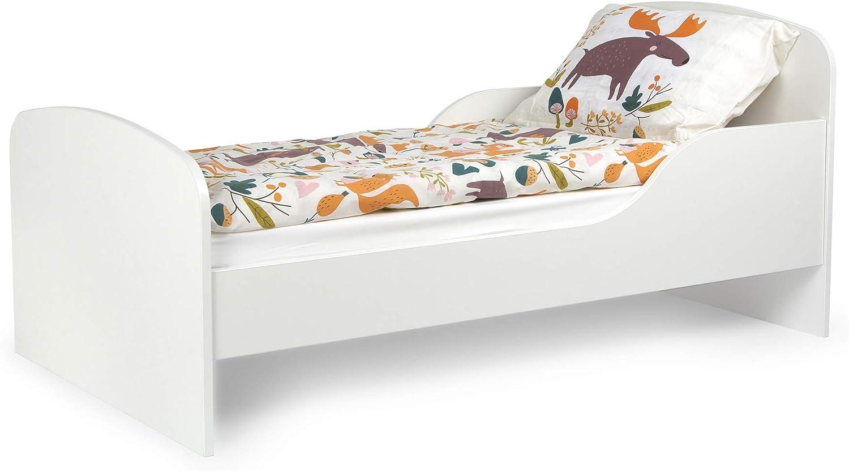 Leomark Cama Infantil Completa de Madera - Blanco- Marco de Cama, Colchón, Somier, Blanco Muebles para Niños, Moderno Dormitorio, Impresa Mobiliario, ...
