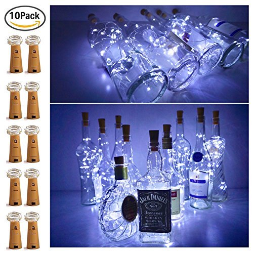 20 LED Bottle Cork String Lights Wine Bottle Fairy Mini Copper Wire, Battery Operated Starry lights for DIY Christmas Halloween Wedding Party Indoor Outdoor Decoration,10 Pack (Cool White) by Ninight