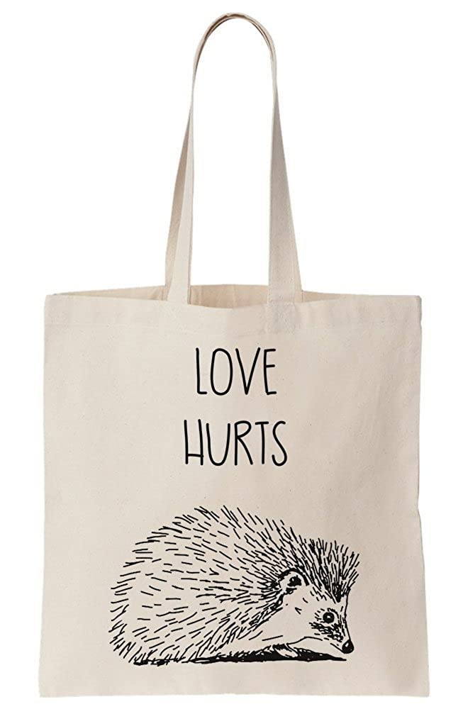 Love Hurts Sad Hedgehog With Spikes Canvas Tote Bag