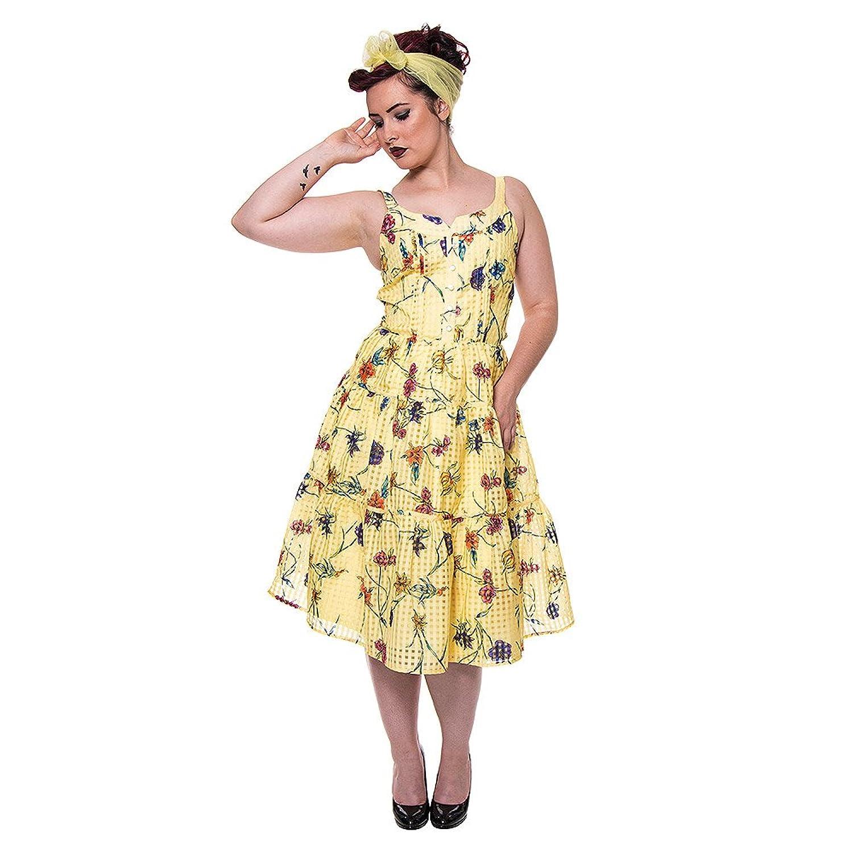 Voodoo Vixen Damen A-Linie Kleid Gelb Gelb