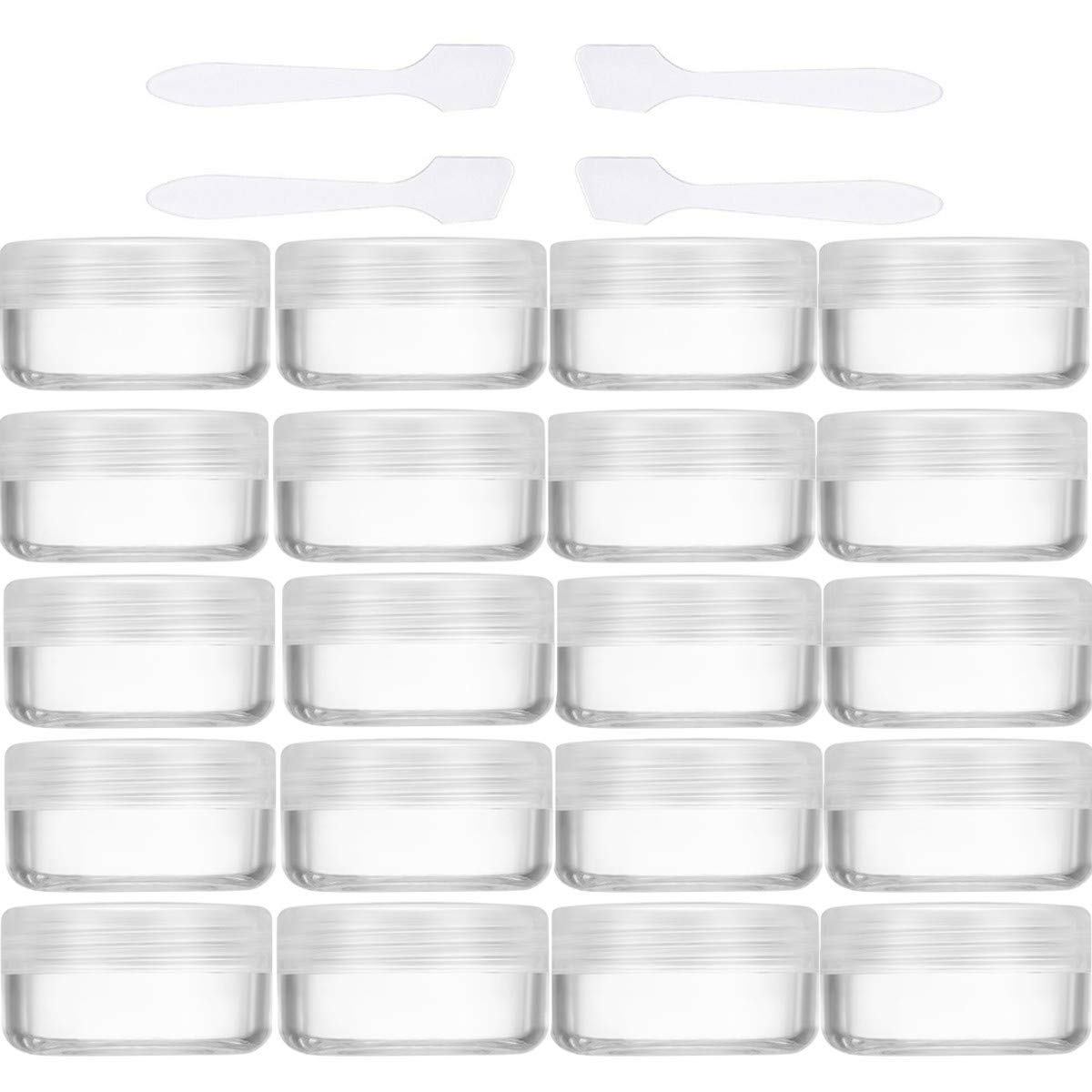 20 Stück Cremedose Leer 10g/10ml Transparent Klein Kunststoff Tiegel - für Kosmetikdose, Lippenbalsam Döschen, Nailart Döschen - Mit Transparent Schraubdeckel und 4 Stück Mini Spatel Lippenbalsam Döschen