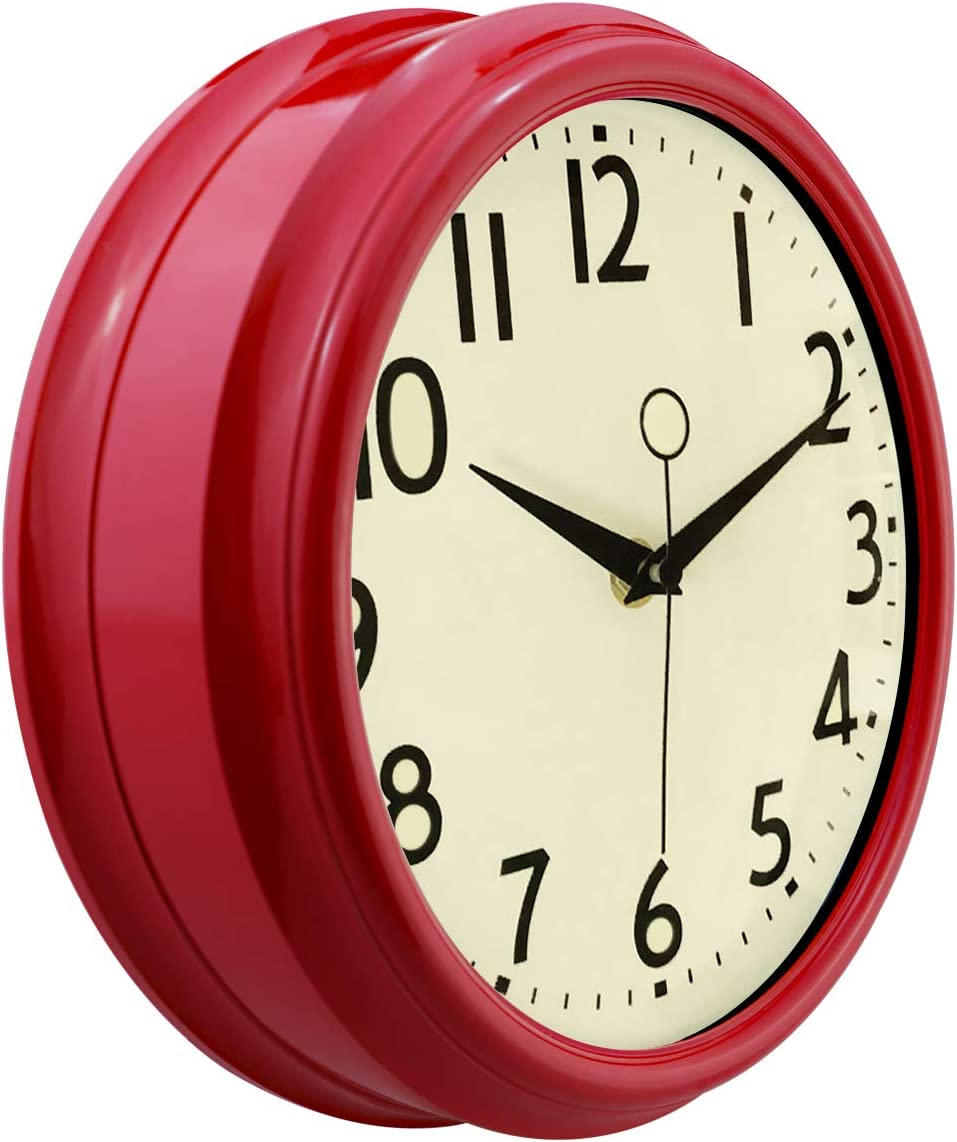 Lumuasky Retro Wall Clock 9.5 Inch Red Kitchen 50's Vintage Design Round Silent Non Ticking Battery Operated Quality Quartz Clock