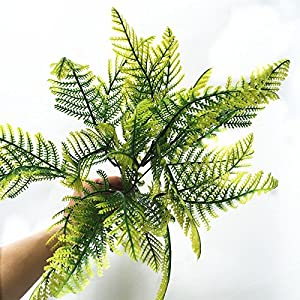 FYYDNZA 1Pcs Artificial Flower Leaves Plants Yellow Green Fake Lifelike Plastic Grass Fern Floral Decoration 6
