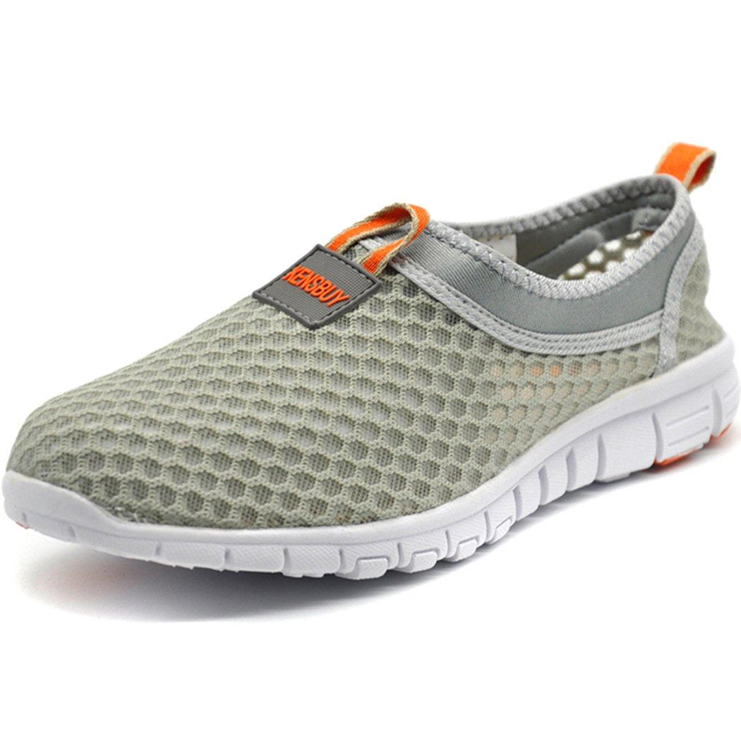 KENSBUY Women's Lightweight Slip on Mesh Shoes Quick Drying Aqua Water Shoes Athletic Sport Walking Sneaker (Orange EU41 Women)