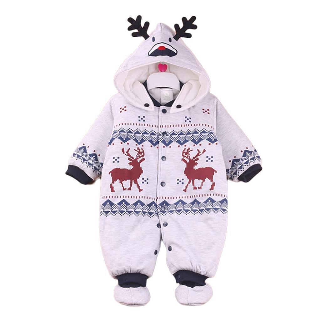 Babykleidung, Honestyi Kleinkind Neugeborene Baby Boys Girls Winter warm Cartoon Kapuzen Anzug Outfits Kleidung (Blau, 3M/59CM)