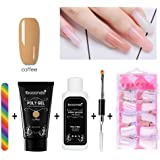 niceEshop(TM) Poly Gel Nail Extension Set,Quick Building Gel + Nail Tips Mold + Nail File + Poly UV Gel Nail Liquid Slip Solution + Poly Gel Nail Brush,Extension Poly Glue Manicure Tool