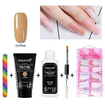 AOLVO Kits Uñas Poly Gel, Gel Construcción Uñas Rápida Poly Gel Nail Extensión, Set