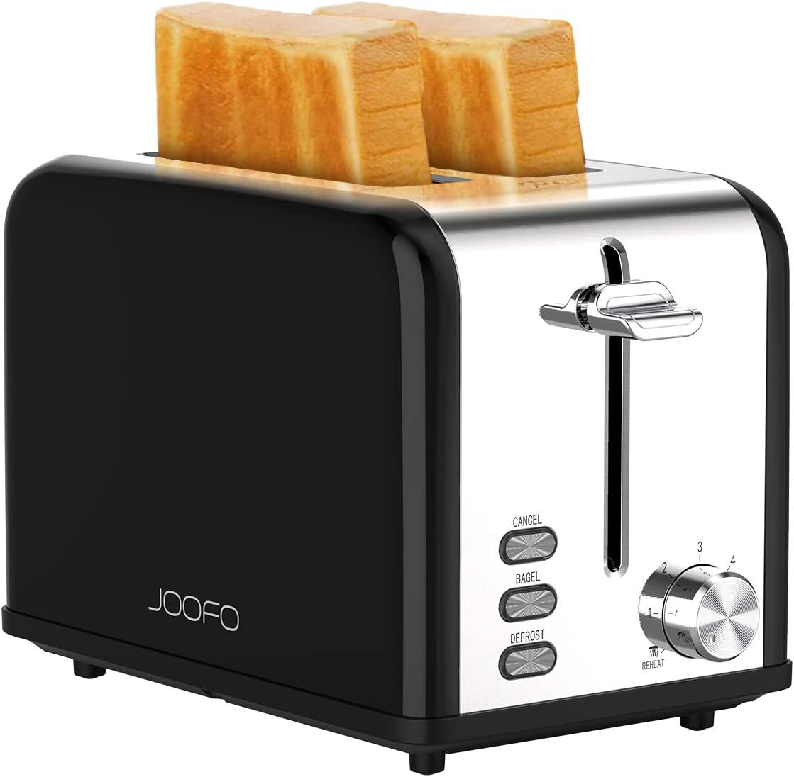 JOOFO 2 Slice Stainless Steel toaster,6 Shade Settings Extra-Wide Slot Toaster with Bagel, Cancel, Defrost,Reheat Function  Removable Crumb Tray (2 Slice, Black)