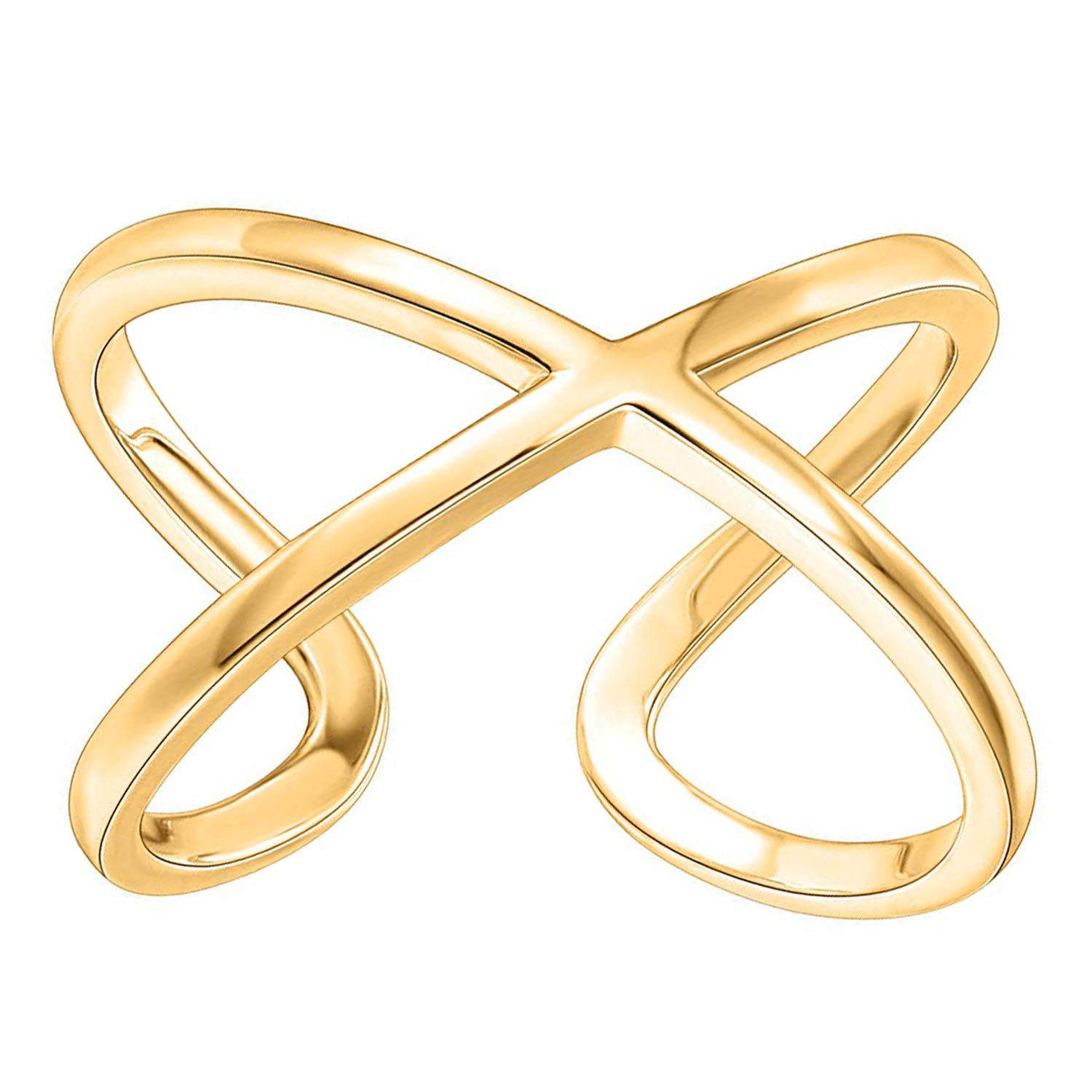 PAVOI 14K Gold Plated Crossover X Stackable Rings | Yellow Gold Rings for Women - Small Yellow by PAVOI