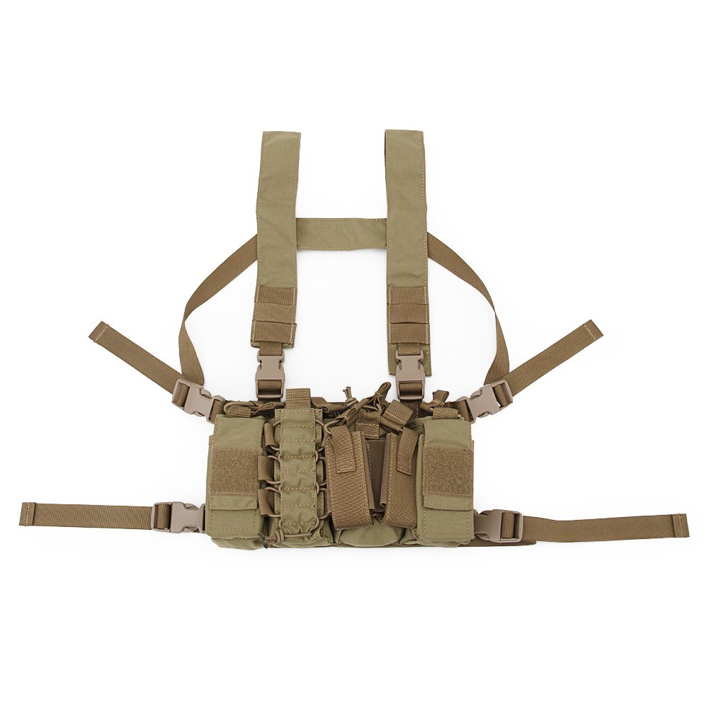 DECHO-C Tactical Chest Rig Combat Recon Gear Vest molle System con rivista per Softair caccia giochi, BK