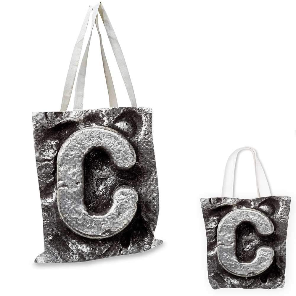 Letter B canvas messenger bag Steel Aged B with Toned Cracks and Distressed Effects Ceramic Inspired Print foldable shopping bag Silver Grey 14x16-11