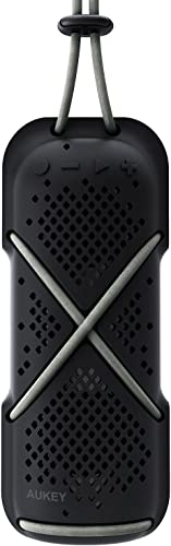 AUKEY Outdoor Bluetooth Speaker, Rugged Water-Resistant Portable Wireless Speaker with Built-in Mic for iPhone, Samsung and More-Black