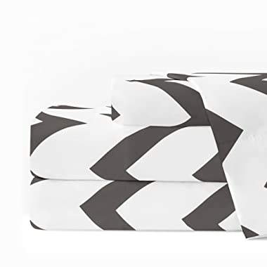 Egyptian Luxury 1600 Series Hotel Collection Chevron Pattern Bed Sheet Set - Deep Pockets, Wrinkle and Fade Resistant, Hypoallergenic Sheet and Pillowcase Set - Queen - Charcoal/White