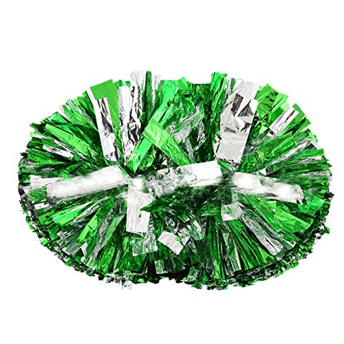 Custom Made Competition Dance Costumes (Cheerleader Cheerleading Pom Poms Party Costume Accessory Set Ball Dance Fancy Dress Night Party Sports Pompoms Cheer Green+Silver)