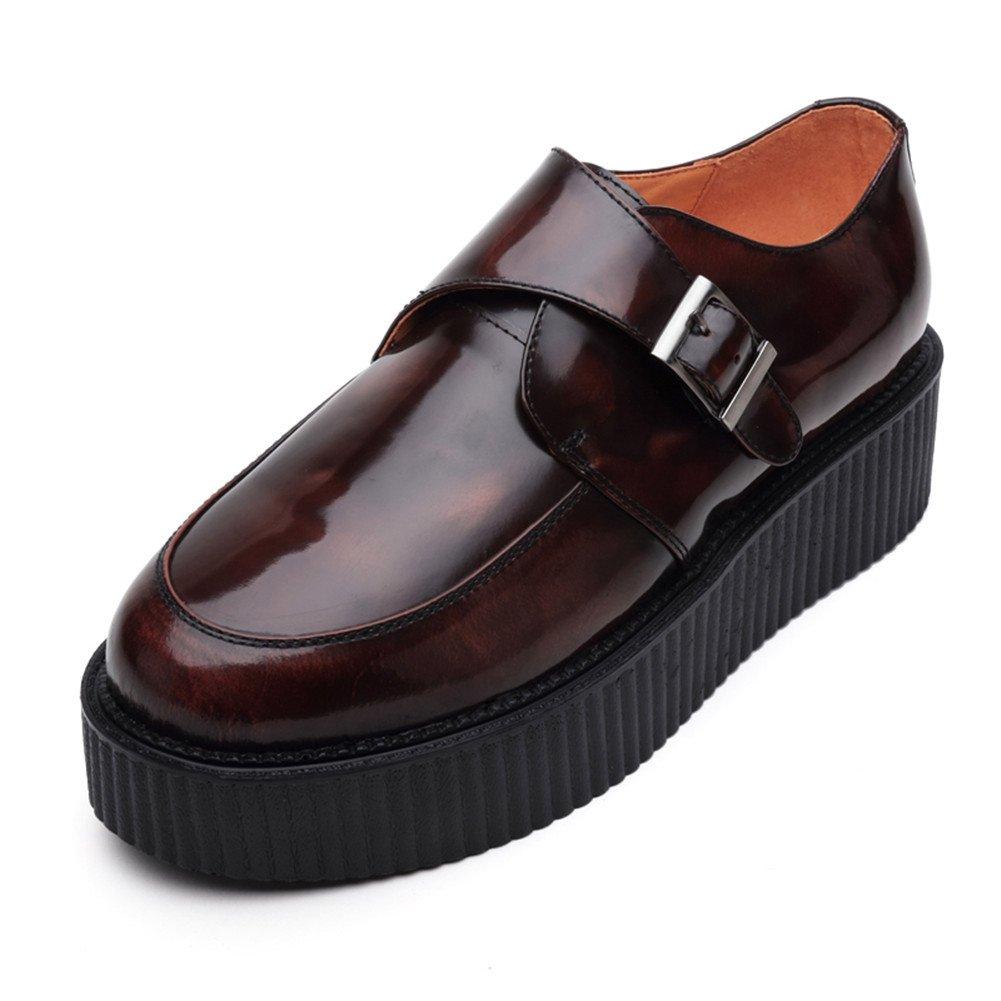 RosaG Herren Leder Oxford Plateauschuhe Platform Creeper Schuhe