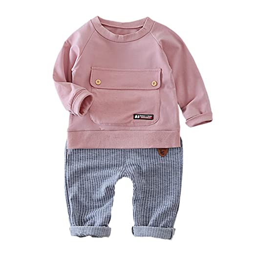 a4fa80f2a Cute Baby Playsuit, Infant Kid Baby Girl Boy Solid Big Pocket Tops Sweatsuit +Stripe