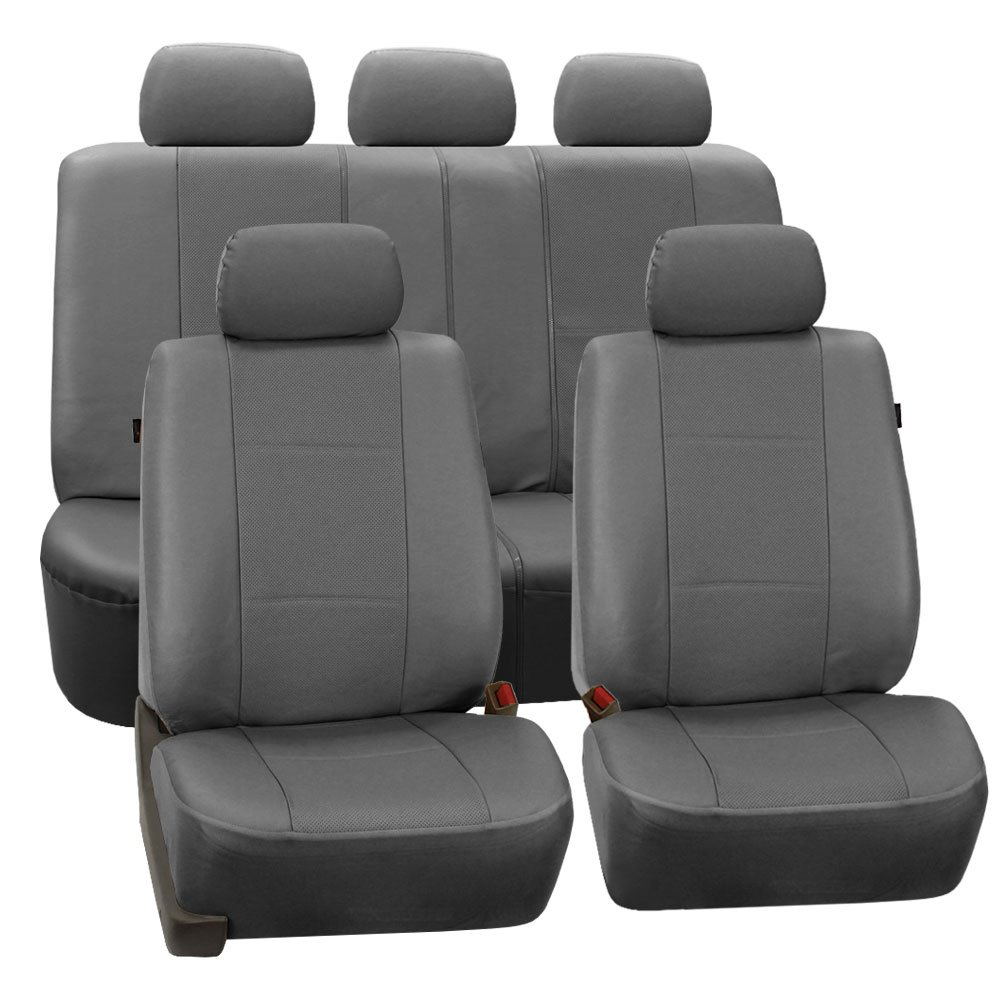 FH Group Universal Fit Full Set Deluxe Seat Cover - Leatherette (Gray) (Airbag compatible and Rear Split, Fit Most Car, Truck, Suv, or Van, FH-PU007115) PU007GRAY115