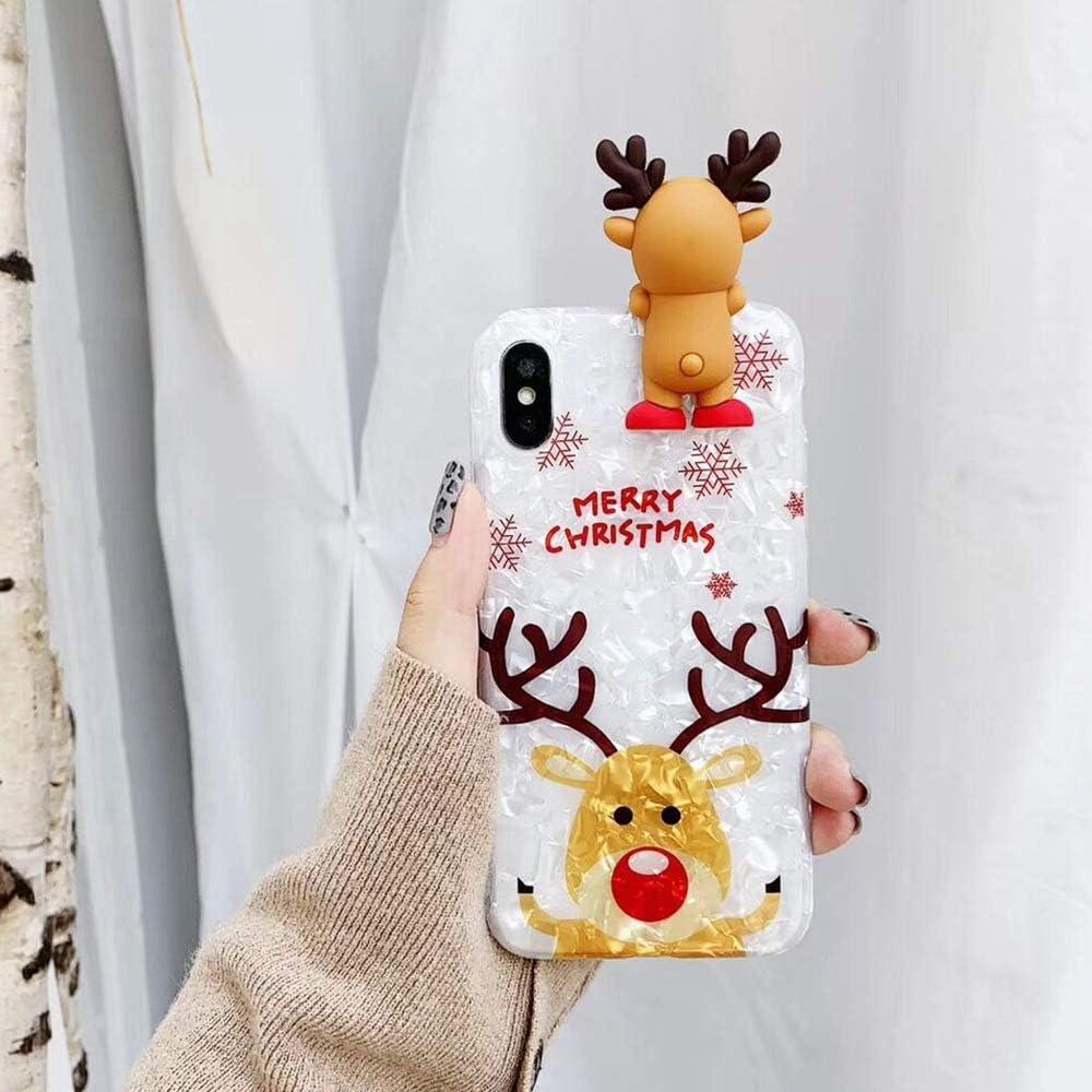 Topwin Christmas Case for iPhone Xr,Glitter Soft TPU Conch Shell Pattern 3D Cute Cartoon Animal Floral Snowman Bear Santa/Elk Pattern Cute Flexible Gift Case for Apple iPhone Xr (Reindeer)