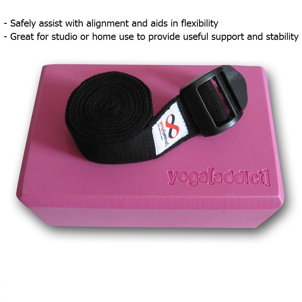 Increase Flexibility /& Balance High Density Foam Blocks to Support /& Deepen Poses Improve Strength YogaAddict Yoga Blocks 2 Pack and Cinch Strap Set with Gift Box Light Weight Premium Quality