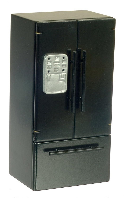 Dollhouse Miniature 1:12 Scale Black Refrigerator with Freezer on Bottom #T4755
