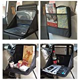 NeoTek Car Laptop/Eating Back Seat Holder Desk Multi-Functional Portable Travel Oxford Fabric Car Vehicle Seat iPad Drink Food Cup Work Mount Stand Holder Table Organizer - Black