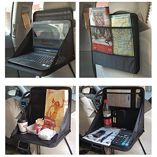 NeoTek Car Laptop/Eating Back Seat Holder Desk Multi-Functional Portable Travel Oxford Fabric Car Vehicle Seat iPad Drink Food Cup Work Mount Stand Holder Table Organizer - Black