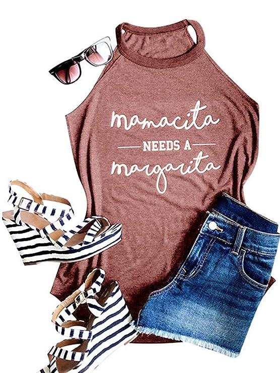 Geckatte Womens Mamacita Needs A Margarita Tank Tops Casual Sleeveless Funny Tshirt Vest Tee by Geckatte