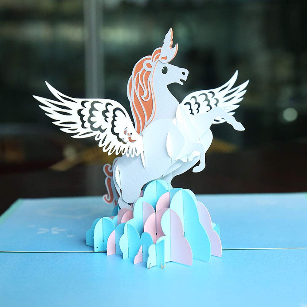 Amazon Easter Unicorn Pop Up Greeting Cards DIY Birthday Card Blue 678 Inch Office Products