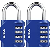 ORIA Combination Lock, 4 Digit Combination Padlock, Metal and Plated Steel Material for School, Employee, Gym Or Sports Locker, Case, Toolbox, Hasp Cabinet and Storage, Pack of 2 (Blue)