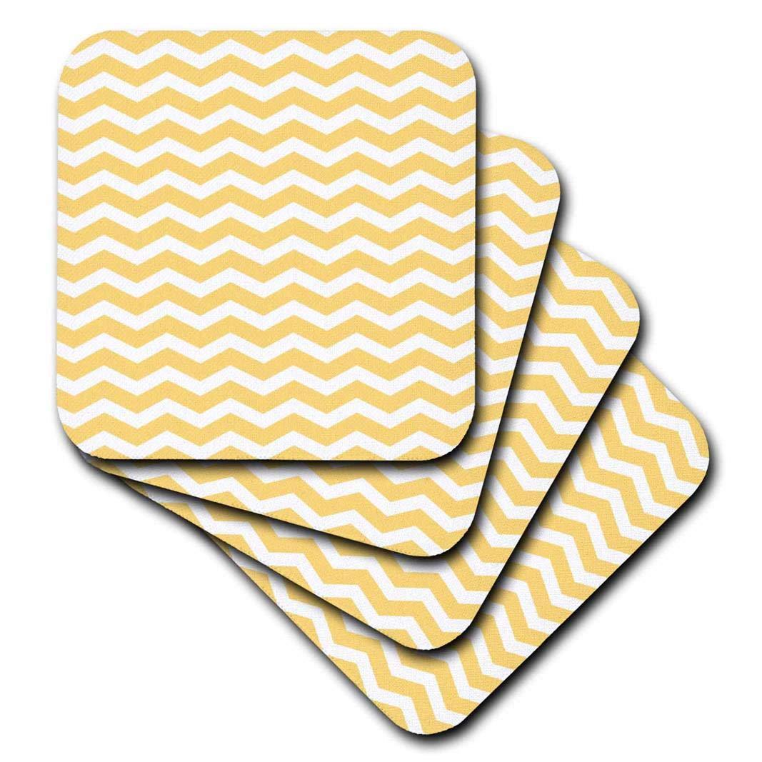 Set of 8 3dRose cst/_56648/_2 Golden Yolk Yellow and White Chevron Zig Zag Stripy Pattern Cute Classic-Soft Coasters