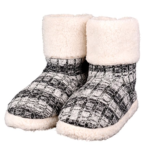 EuropeanSoftest EuropeanSoftest's Womens Indoor Slipper Boot With Anti-Slip, Memory Foam and Knitted Upper (Black, Medium)