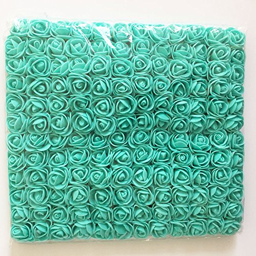 Artfen Mini Fake Rose Flower Heads 144pcs Mini Artificial Roses DIY Wedding Flowers Accessories Make Bridal Hair Clips Headbands Dress Approx 1 Inch Diameter Tiffany Blue (Blue Wedding Flowers Dresses)
