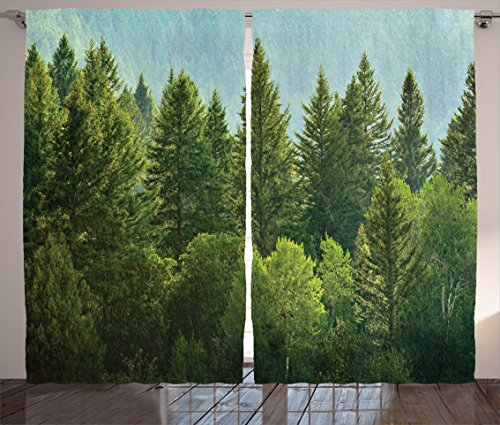 - Ambesonne Nature Decor Curtains, Forest Pine Tree Tops Refreshing Eco Woodland Wilderness Mountainside Landscape, Living Room Bedroom Window Drapes 2 Panel Set, 108W X 63L Inches, Green