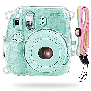 Katia Camera Case Bag Compatible for Fujifilm Instax Mini 9 Instant Camera, Also Compatible for Fujifilm Instax Mini 8 Instant Film Camera with Strap - Shining Transparent