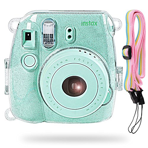 Katia Camera Case Bag Compatible for Fujifilm Instax Mini 9 Instant Camera, Also Compatible for Fujifilm Instax Mini 8 Instant Film Camera with Strap - Shining Transparent (Polaroid Transparent)