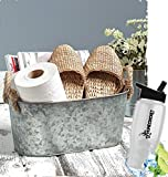 Gift Included- Country Farmhouse Galvanized All-Purpose Storage Bucket W/Rope Handle Home Decor Accents + FREE Bonus Water Bottle by Home Cricket Homecricket
