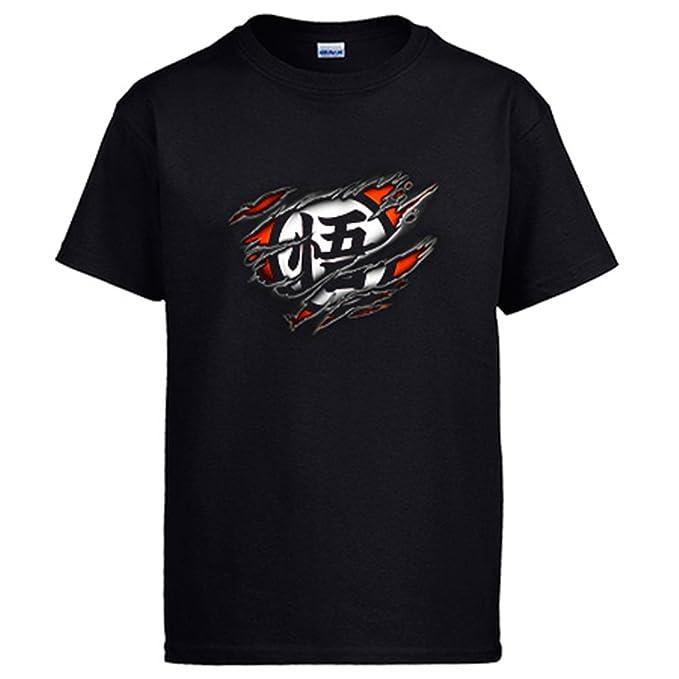 Camiseta Dragon Ball símbolo Goku desgarrado: Amazon.es: Ropa y accesorios
