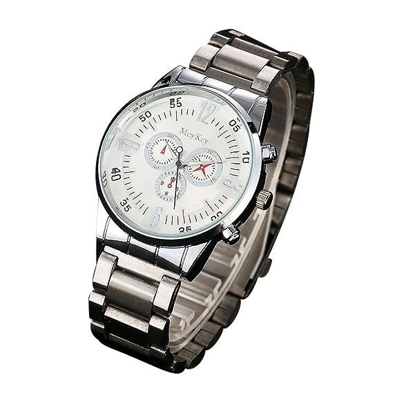 fineshow 2017 nueva mcykcy moda Hombre Simple reloj de pulsera de cuarzo analógico de acero inoxidable: Amazon.es: Relojes