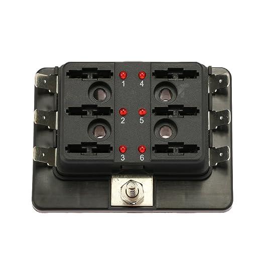 KKmoon Caja de Fusibles 6 Vías Portafusibles con Lámpara de Alerta LED Kit para Coche Barco Marino Triciclo 12V 24V: Amazon.es: Coche y moto