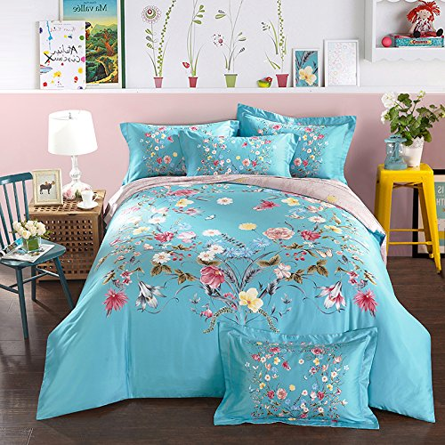 4 Piece Fresh Pastoral Blue Cotton Duvet Cover and Sheet Sets Countryside Bedding Sets/Collection with Delicate Blooming Flower Pattern,Multi Color,Full 78.74