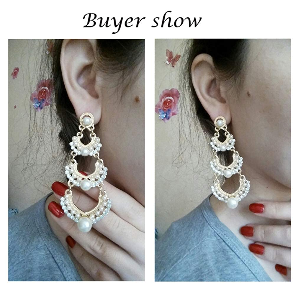 Wedding Chandelier Hanging Long Earrings Gold-Color Multilayer Imitation Pearl Earing