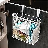 MIJORA-White Under Shelf Cabinet Hanging Wire Basket Rack Kitchen Pantry Storage